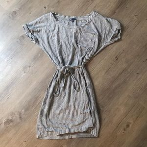 Gray Striped T-shirt Dress